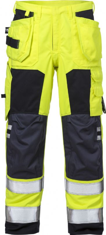 Fristads Flame High Vis Craftsman Trousers Woman CL 2 2775 ATHS (Hi Vis Yellow/Navy)
